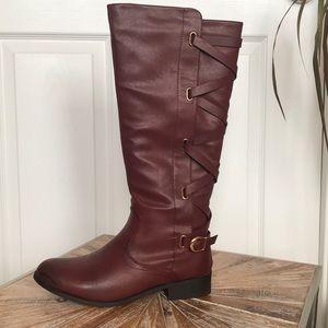 NIB Shoe Dazzle Bordeaux Faux Leather Boots